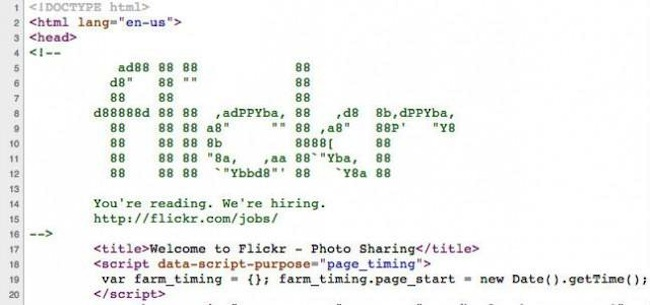 Flickr hidden job ad