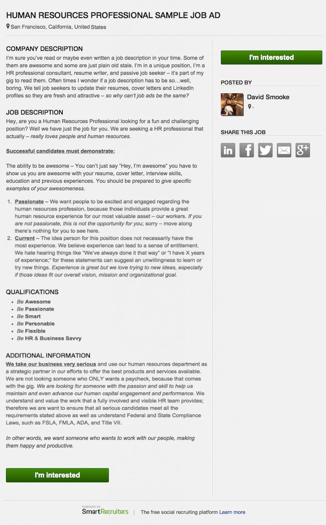 Human Resources Job Description