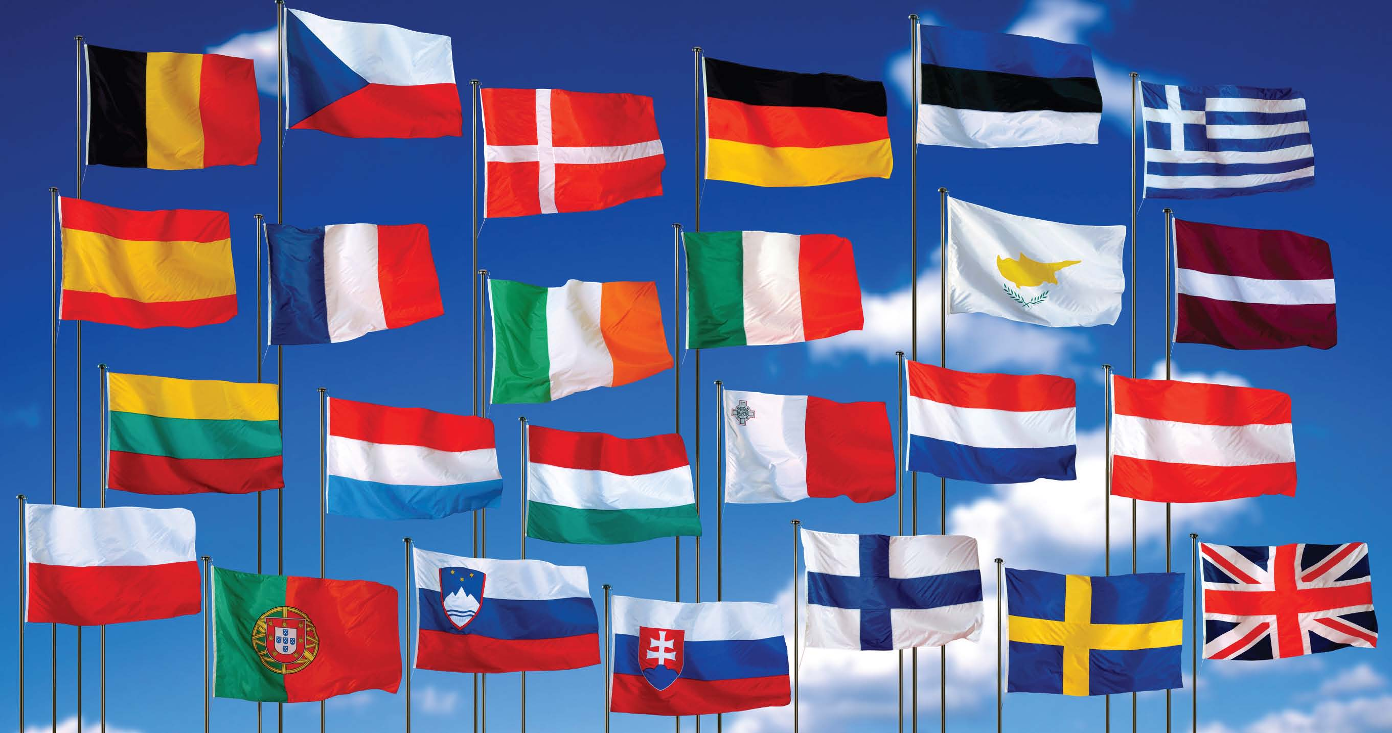The flags of the European Union