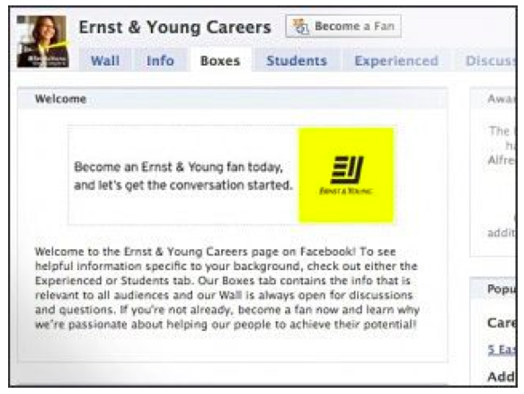Ernest & Young Careers Group - social media recruiting