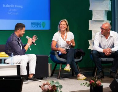 Hung Lee, Isabelle Hung, and Jerome Ternynck onstage Hiringing Success EU – Berlin