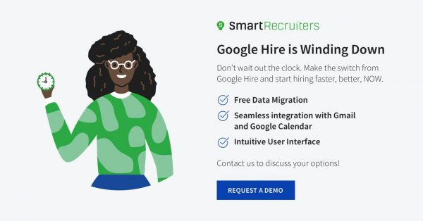 Illustration of an African American woman holding a clock next to a block of text announcing that Google Hire is scheduled for discontinuation.