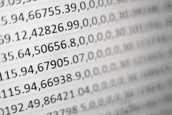 Photo of numbers on a white sheet of paper.