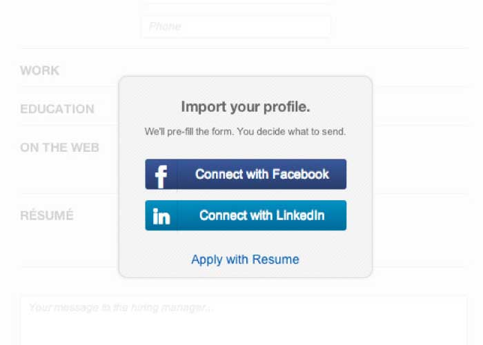 1-click apply with Facebook